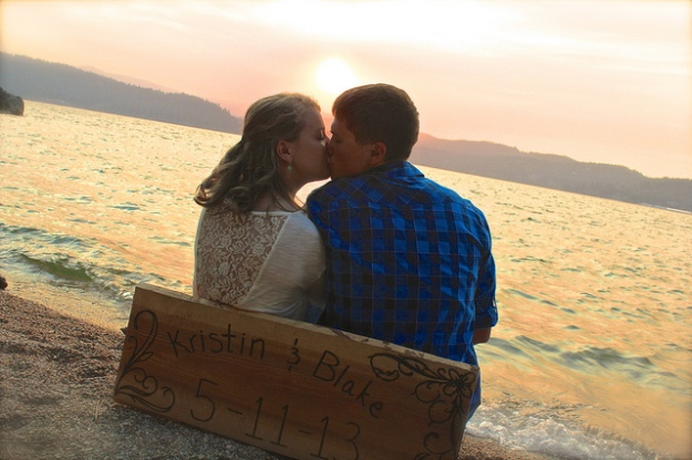 """My good friends Kristen and Blake """"Save the Dates"""" at the lovely Tubbs Hill"""